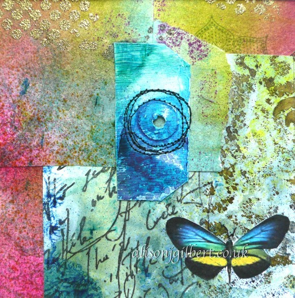 Picture of blue and yellow butterfly collage