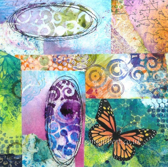 Bright collage picture of patchwork butterfly