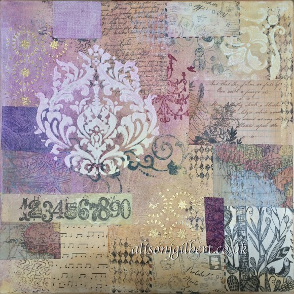Damask Relief 30cm x 30cm Mixed Media canvas